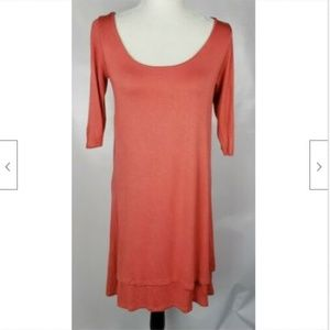 Luxe USA Tunic Top M Coral Stretch Jersey Knit
